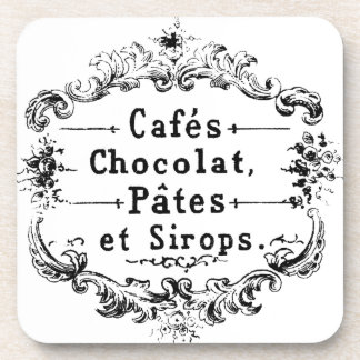 Vintage french  typography chocolate design coasters