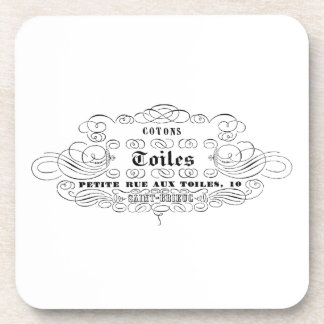 vintage french typography cotton toiles beverage coasters