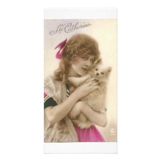Vintage French Victorian Woman & White Dog Photo Card