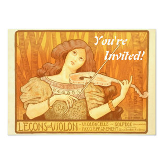 Vintage French Violin Lessons Ad Poster Announcements