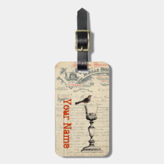 Vintage French Wine Themed Bag Tag