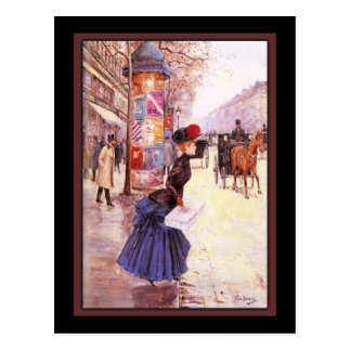 Vintage French Woman Shopping Postcard
