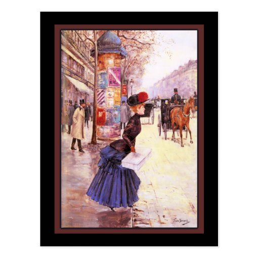 Vintage French Woman Shopping Post Cards