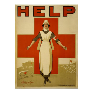 Vintage French WW1 Red Cross Poster