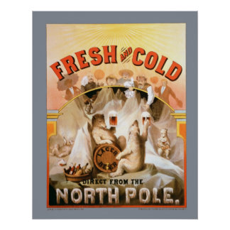 Vintage Fresh and Cold Lager Beer Print