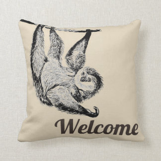 vintage friendly sloth - welcome cushion