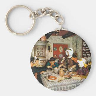 Vintage Frnace, Auvergne, family meal Key Ring
