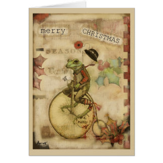 Vintage Frog on Bicycle Bowler Hat Christmas Card
