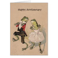 Retro birthday cards invitations zazzle vintage frogs in costume anniversary birthday card bookmarktalkfo Gallery