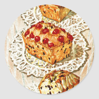 Vintage fruit cake illustration classic round sticker