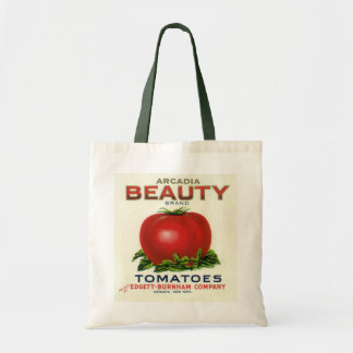 Vintage Fruit Crate Label, Arcadia Beauty Tomatoes Budget Tote Bag