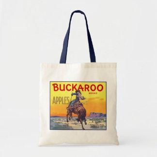 Vintage Fruit Crate Label Art, Bucking Cowboy Budget Tote Bag