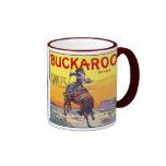 Vintage Fruit Crate Label Art, Bucking Cowboy Mugs