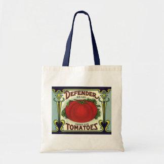 Vintage Fruit Crate Label Art, Defender Tomatoes Budget Tote Bag