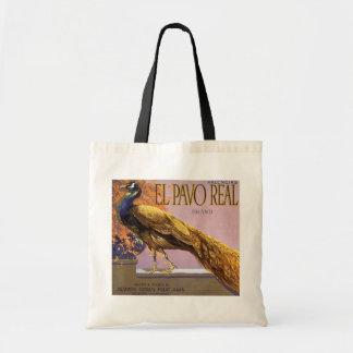 Vintage Fruit Crate Label Art El Pavo Peacock Bird Budget Tote Bag