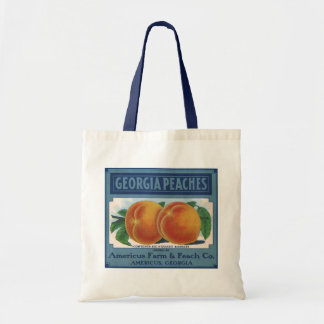 Vintage Fruit Crate Label Art, Georgia Peaches Budget Tote Bag