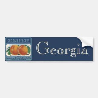 Vintage Fruit Crate Label Art, Georgia Peaches Bumper Sticker