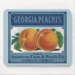 Vintage Fruit Crate Label Art, Georgia Peaches Mouse Pad
