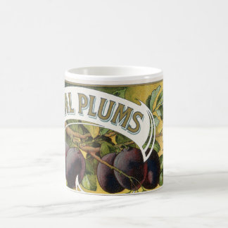 Vintage Fruit Crate Label Art, Imperial Plums Coffee Mug