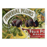 Vintage Fruit Crate Label Art, Imperial Plums Greeting Card