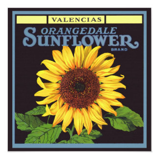 Vintage Fruit Crate Label Art Orangedale Sunflower Personalized Announcement Cards