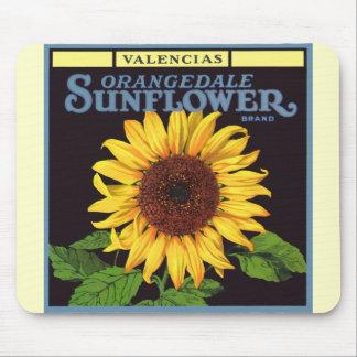 Vintage Fruit Crate Label Art Orangedale Sunflower Mouse Pad