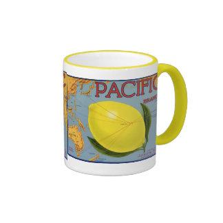 Vintage Fruit Crate Label Art Pacific Citrus Lemon Mug