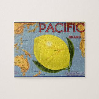 Vintage Fruit Crate Label Art Pacific Lemon Citrus Jigsaw Puzzle