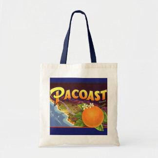 Vintage Fruit Crate Label Art, Pacoast Oranges Budget Tote Bag