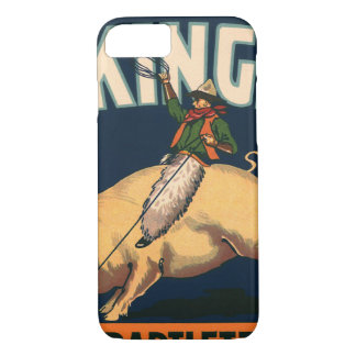 Vintage Fruit Crate Label Art Rodeo Cowboy on Pig iPhone 7 Case
