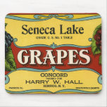 Vintage Fruit Crate Label Art, Seneca Lake Grapes Mouse Pad
