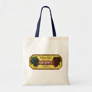 Vintage Fruit Crate Label Art, Seneca Lake Grapes Tote Bags