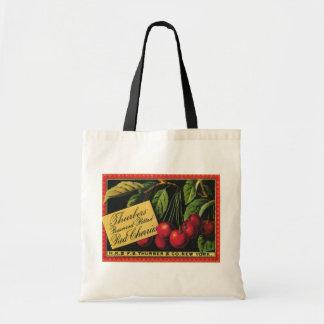 Vintage Fruit Crate Label Art, Thurber Cherries Budget Tote Bag