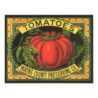 Vintage Fruit Crate Label Art, Wayne Co Tomatoes 11 Cm X 14 Cm Invitation Card