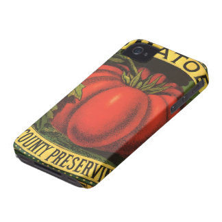 Vintage Fruit Crate Label Art, Wayne Co Tomatoes iPhone 4 Case-Mate Cases