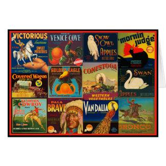 Vintage Fruit Crate Labels Greeting Card