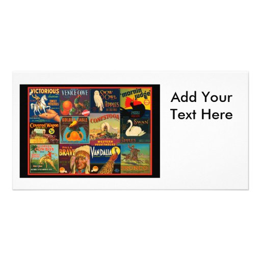 Vintage Fruit Crate Labels Photo Greeting Card
