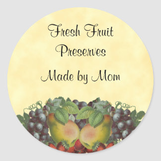 Vintage Fruit Custom Canning Label Round Sticker