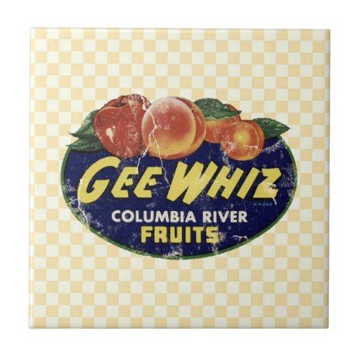Vintage Fruit Label Peaches, Funny Gee Whiz Ceramic Tile
