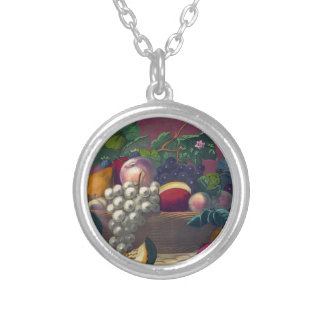 Vintage Fruit Painted Round Pendant Necklace