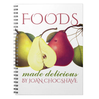 Vintage fruit pears cooking baking recipe notebook
