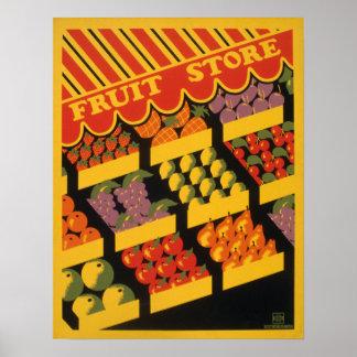Vintage Fruit Store Artwork Poster