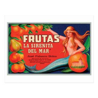 Vintage Frutas Crate La Sirenita Del Mar Crate Lab Postcard