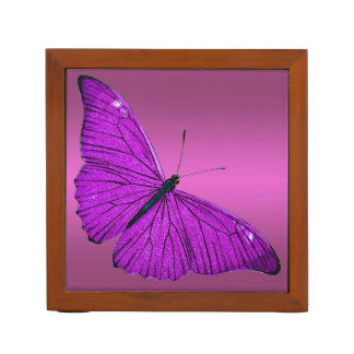 Vintage Fuchsia Purple Butterfly 1800 Illustration Desk Organiser