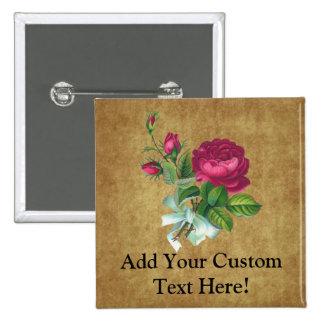 Vintage Fuchsia Rose 15 Cm Square Badge