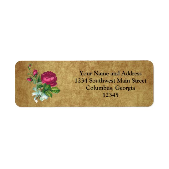 Vintage Fuchsia Rose Return Address Label