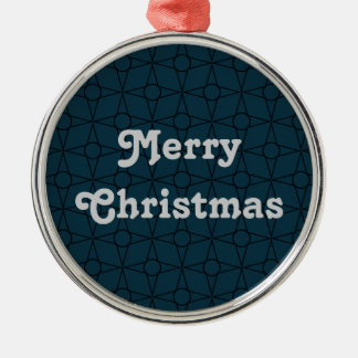 Vintage Funk Premium Ornament, Dark Blue Silver-Colored Round Decoration