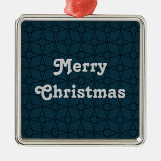 Vintage Funk Premium Ornament, Dark Blue Silver-Colored Square Decoration