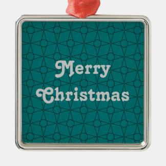 Vintage Funk Premium Ornament, Teal Silver-Colored Square Decoration
