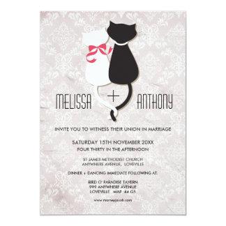 Vintage Funny Cat Couple Damask Wedding Invite